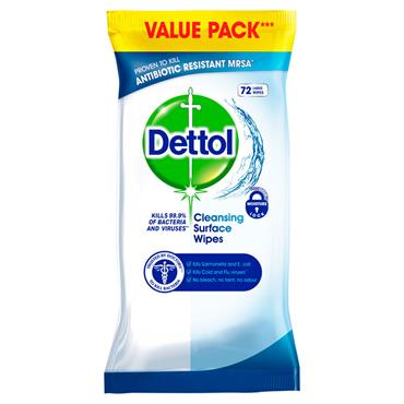 DETTOL SURFACE CLEANSER WIPES 72 PACK
