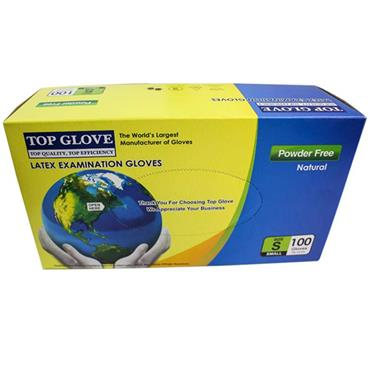 TOP GLOVE LATEX EXAMINATION GLOVES SMALL (100 PACK)