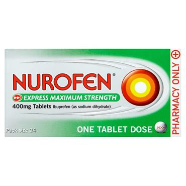 NUROFEN NUROFEN EXPRESS MAX STRENGTH 400MG IBUPROFEN TABLETS