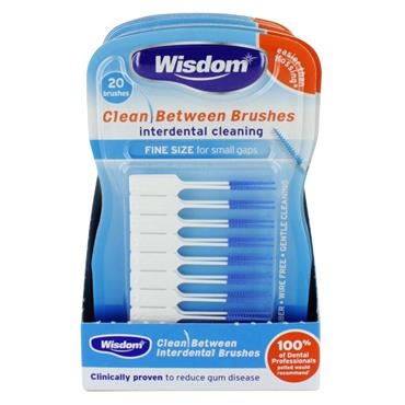 WISDOM CLEAN BETWEEN BRUSHES INTERDENTAL CLEANING FINE SIZE (20 PACK)