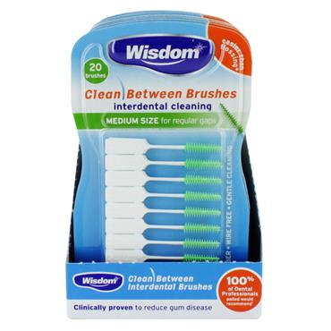 WISDOM CLEAN BETWEEN BRUSHES INTERDENTAL CLEANING MEDIUM SIZE (20 PACK)