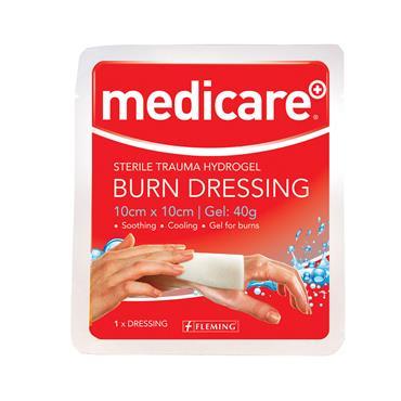 MEDICARE BURN DRESSING 10CM X 10CM GEL 40G