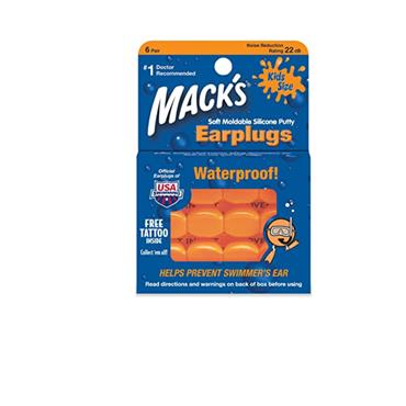 MACKS MOLDABLE SILICONE EARPLUGS FOR KIDS 6 PAIRS