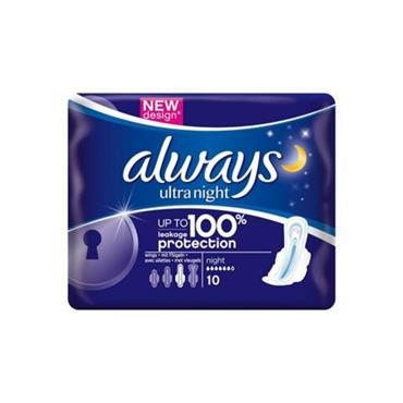 ALWAYS ULTRA NIGHT PADS 10S