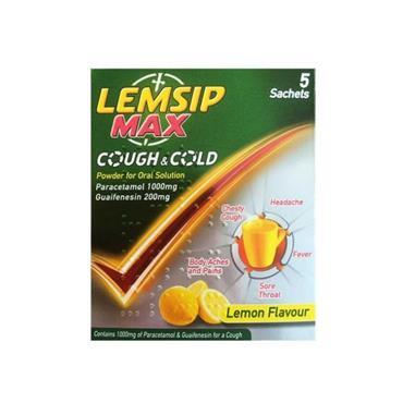 LEMSIP LEMSIP MAX COUGH & COLD LEMON 5 SACHETS