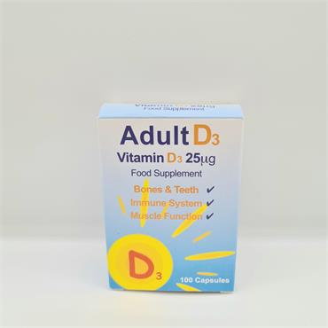 Adult D3 Food Supplement - 100 Capsules