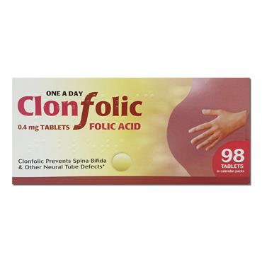 Clonfolic Tablets 0.4mg Folic Acid