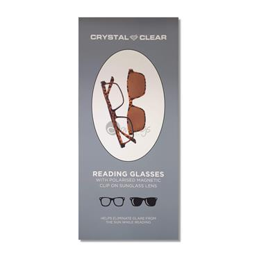 Crystal Clear Reading Glasses with Polarised Magnetic Clip-On (Tortoise Shell)