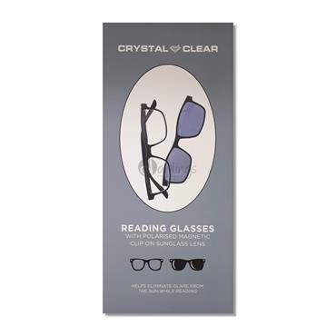 Crystal Clear Reading Glasses with Polarised Magnetic Clip-On (Black)