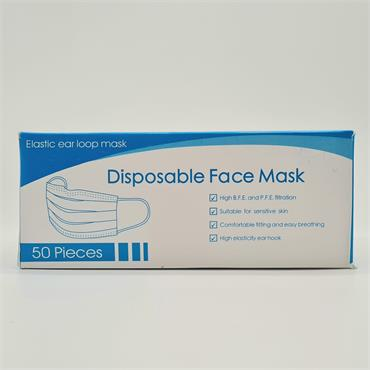 Disposable Face Masks - Elastic Ear Loop - 50 Peices