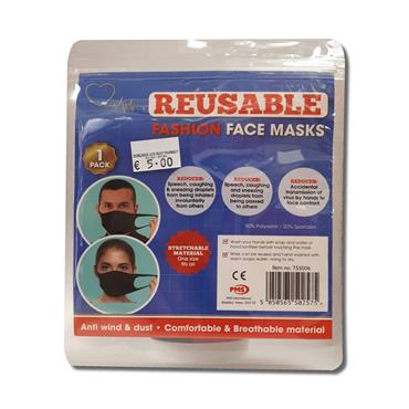 Face Mask Reuseable - Black