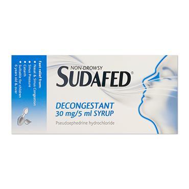 Sudafed 30Mg/5Ml Pseudoephidrine Decongestant Syrup