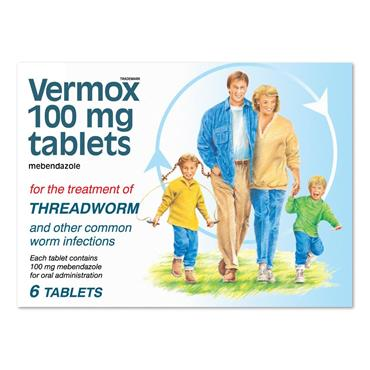 Vermox 100Mg Tablets 6 Pack