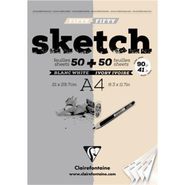 Sketch pad glued 100sh white & ivory A4