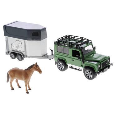 LAND ROVER DEFENDER W/HORSE TRAILER & HORSE