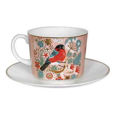 Birdy S/2 Cappuccino Bullfinch & Goldfinch