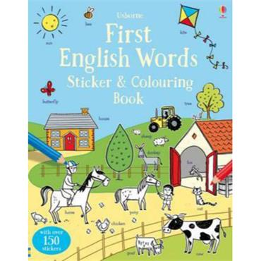 FIRST ENGLISH WORDS STICKER/COLOURING BK