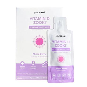 Your Zooki Liposomal Vitamin D 3000iu with K2 Mixed Berry Flavour 14s