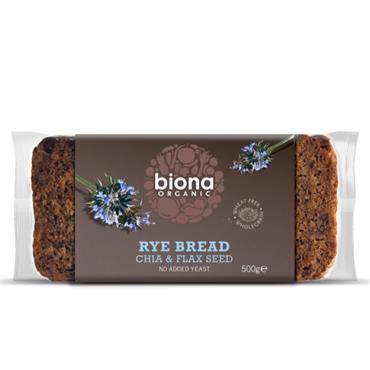 Biona Organic Rye Bread with Chia & Flax 500g