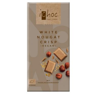 iChoc White Nougat Crisp Vegan Chocolate 80G