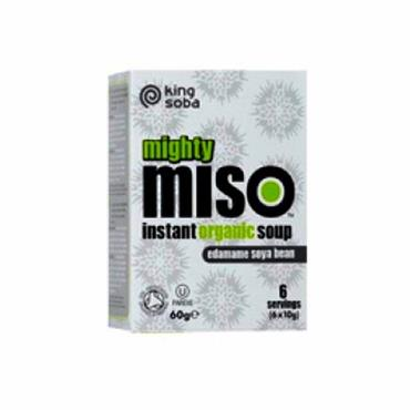 King Soba Organic Mighty Miso Instant Soup with Edamame Soya Beans 6 x 10g