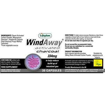 Lifeplan Wind Away Activated Charcoal 334mg 30s