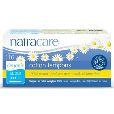 Natracare Organic Cotton Super Tampons with Applicator - 16 tampons