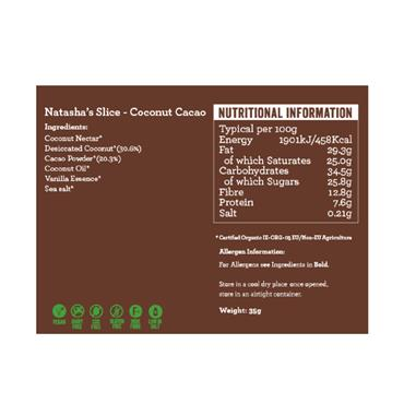 Natasha's Slice- Raw Coconut Cacao Bar 50g