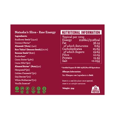 Natasha's Slice- Raw Energy Bar 50g