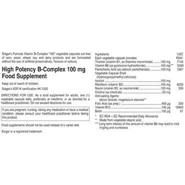 """Solgar Vitamin B Complex """"100"""" Capsules"""