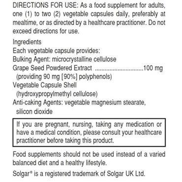 Solgar Grape Seed Extract 100mg 30 Capsules