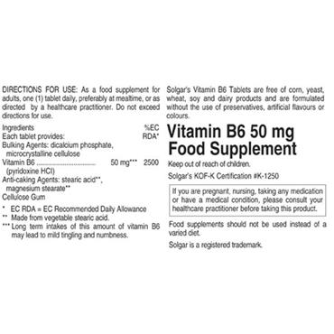 Solgar Vitamin B6 50mg 100 Tablets