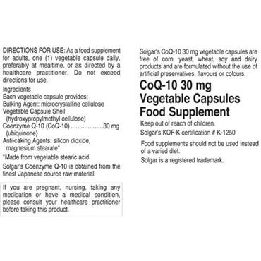 Solgar Co Q-10 30mg - 30 Capsules