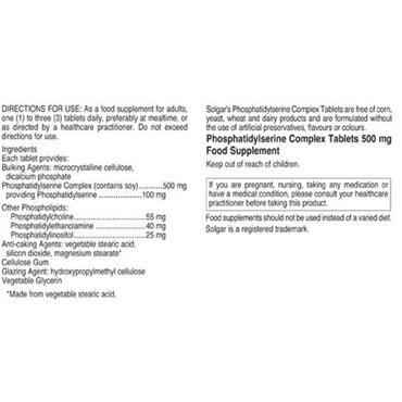Solgar Phosphatidylserine Complex 500mg 30 Tablets
