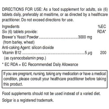 Solgar Brewer's Yeast Tablets 250 Tablets
