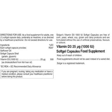 Solgar Vitamin D3 1000IU Softgels - 100 Softgels