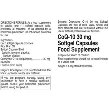 Solgar Co Q-10 30mg 30 Softgels