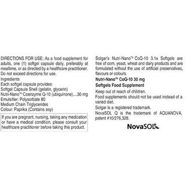 Solgar Nutri Nano CoQ-10  50 Softgels