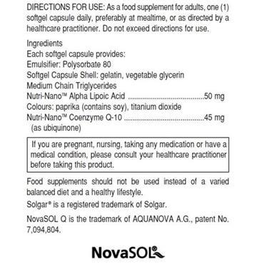 Solgar Nutri Nano Co Q-10 Alpha Lipoic Acid  60 Softgels