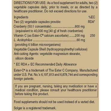 Solgar Cran Flora with Probiotics Plus Ester-C 60 Capsules