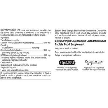 Solgar Extra Strength Glucosamine Chondroitin MSM 120 Tablets