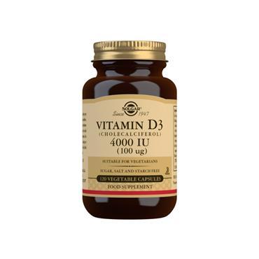 Solgar Vitamin D3 4000 IU (100 µg) 120 Vegetable Capsules