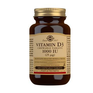 Solgar Vitamin D3 1000IU Chewable Tablets 100s