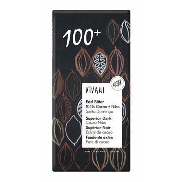 Vivani Organic 100% Dark Chocolate with Nibs 80g