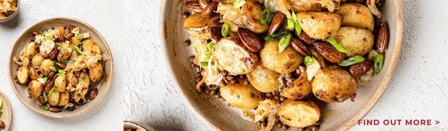 Roast Miso Potato, Kimchi and Lentil Salad at Nourish