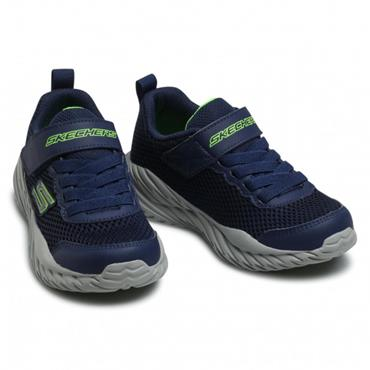 SKECHERS BOYS VELCRO LACE TRAINER - NAVY LIME