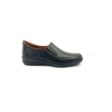LUISETTI WOMENS LEATHER SLIP ON SHOE - BLACK