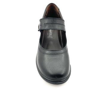 LUISETTI WOMENS LEATHER VELCRO SHOE - BLACK