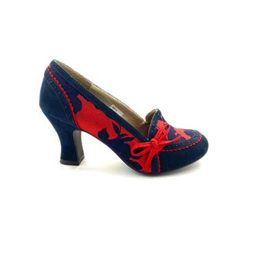 RUBY SHOO WOMENS BOW COURT SHOE - NAVY RED
