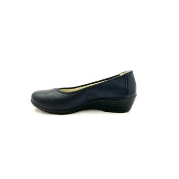 ALPINA WOMENS LOW WEDGE SLIP ON SHOE - NAVY
